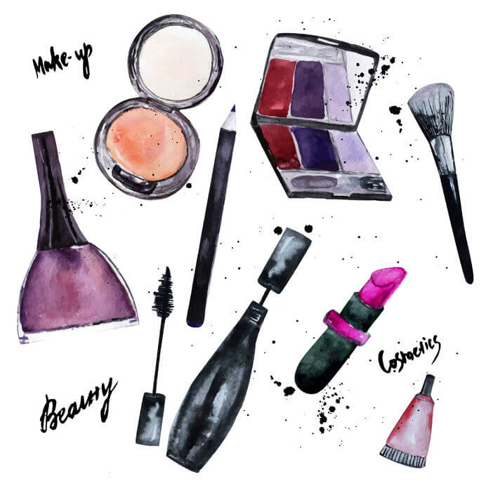 42420811 - vector watercolor set of glamorous make up set of  cosmetics with nail polish and lipstick.creative design for card, web design background, book cover.eps10.
